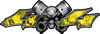 Twin Piston with Crazy Skull 4x4 ATV Truck or SUV Decals in Yellow Inferno Flames
