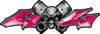 Twin Piston with Crazy Skull 4x4 ATV Truck or SUV Decals in Pink