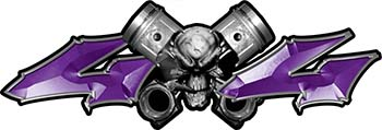 Twin Piston with Crazy Skull 4x4 ATV Truck or SUV Decals in Purple
