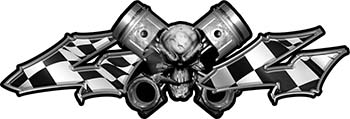 Twin Piston with Crazy Skull 4x4 ATV Truck or SUV Decals with Checkered Racing Victory Flag