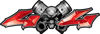 Twin Piston with Crazy Skull 4x4 ATV Truck or SUV Decals in Red