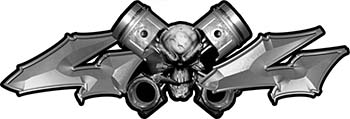 Twin Piston with Crazy Skull 4x4 ATV Truck or SUV Decals in Silver