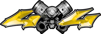 Twin Piston with Crazy Skull 4x4 ATV Truck or SUV Decals in Yellow