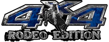 Rodeo Edition Bucking Bronco 4x4 ATV Truck or SUV Decals in Blue Camouflage