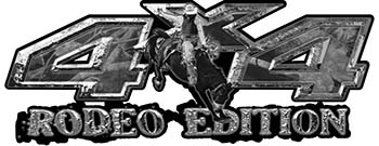 Rodeo Edition Bucking Bronco 4x4 ATV Truck or SUV Decals in Gray Camouflage
