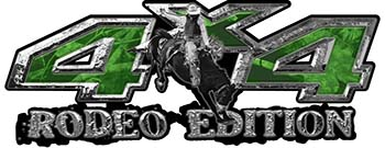 Rodeo Edition Bucking Bronco 4x4 ATV Truck or SUV Decals in Green Camouflage