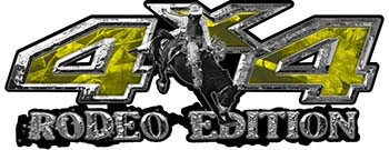 Rodeo Edition Bucking Bronco 4x4 ATV Truck or SUV Decals in Yellow Camouflage