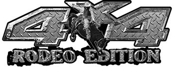 Rodeo Edition Bucking Bronco 4x4 ATV Truck or SUV Decals in Diamond Plate