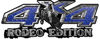 Rodeo Edition Bucking Bronco 4x4 ATV Truck or SUV Decals in Blue Diamond Plate