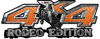Rodeo Edition Bucking Bronco 4x4 ATV Truck or SUV Decals in Orange Diamond Plate
