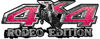 Rodeo Edition Bucking Bronco 4x4 ATV Truck or SUV Decals in Pink Diamond Plate
