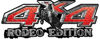 Rodeo Edition Bucking Bronco 4x4 ATV Truck or SUV Decals in Red Diamond Plate