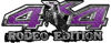 Rodeo Edition Bucking Bronco 4x4 ATV Truck or SUV Decals in Purple Diamond Plate