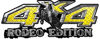 Rodeo Edition Bucking Bronco 4x4 ATV Truck or SUV Decals in Yellow Diamond Plate