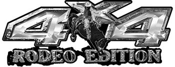 Rodeo Edition Bucking Bronco 4x4 ATV Truck or SUV Decals in Silver