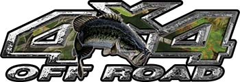 Largemouth Bass Fishing Edition 4x4 Off Road ATV Truck or SUV Decals in Camouflage