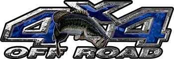 Largemouth Bass Fishing Edition 4x4 Off Road ATV Truck or SUV Decals in Blue Camouflage