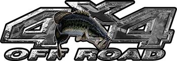 Largemouth Bass Fishing Edition 4x4 Off Road ATV Truck or SUV Decals in Gray Camouflage