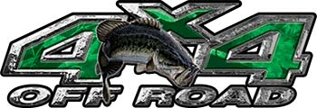 Largemouth Bass Fishing Edition 4x4 Off Road ATV Truck or SUV Decals in Green Camouflage