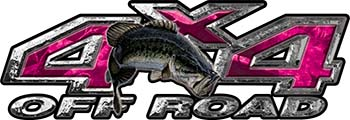 Largemouth Bass Fishing Edition 4x4 Off Road ATV Truck or SUV Decals in Pink Camouflage