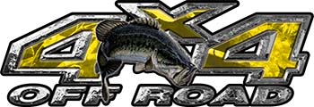 Largemouth Bass Fishing Edition 4x4 Off Road ATV Truck or SUV Decals in Yellow Camouflage