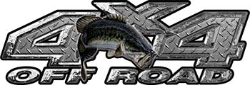 Largemouth Bass Fishing Edition 4x4 Off Road ATV Truck or SUV Decals in Diamond Plate