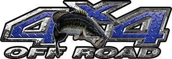Largemouth Bass Fishing Edition 4x4 Off Road ATV Truck or SUV Decals in Blue Diamond Plate