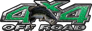 Largemouth Bass Fishing Edition 4x4 Off Road ATV Truck or SUV Decals in Green Diamond Plate