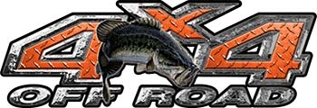 Largemouth Bass Fishing Edition 4x4 Off Road ATV Truck or SUV Decals in Orange Diamond Plate