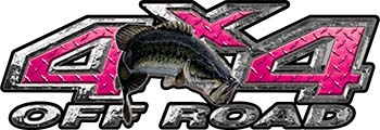 Largemouth Bass Fishing Edition 4x4 Off Road ATV Truck or SUV Decals in Pink Diamond Plate