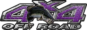Largemouth Bass Fishing Edition 4x4 Off Road ATV Truck or SUV Decals in Purple Diamond Plate