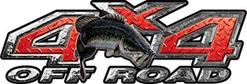 Largemouth Bass Fishing Edition 4x4 Off Road ATV Truck or SUV Decals in Red Diamond Plate