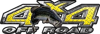Largemouth Bass Fishing Edition 4x4 Off Road ATV Truck or SUV Decals in Yellow Diamond Plate
