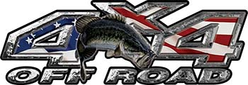 Largemouth Bass Fishing Edition 4x4 Off Road ATV Truck or SUV Decals with American Flag