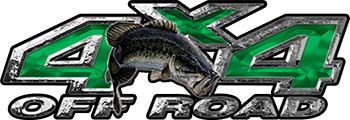 Largemouth Bass Fishing Edition 4x4 Off Road ATV Truck or SUV Decals in Green