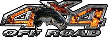 Largemouth Bass Fishing Edition 4x4 Off Road ATV Truck or SUV Decals in Inferno Flames