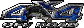 Largemouth Bass Fishing Edition 4x4 Off Road ATV Truck or SUV Decals in Blue Inferno Flames