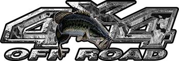 Largemouth Bass Fishing Edition 4x4 Off Road ATV Truck or SUV Decals in Gray Inferno Flames