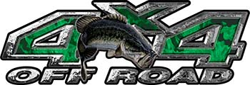 Largemouth Bass Fishing Edition 4x4 Off Road ATV Truck or SUV Decals in Green Inferno Flames