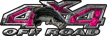 Largemouth Bass Fishing Edition 4x4 Off Road ATV Truck or SUV Decals in Pink Inferno Flames