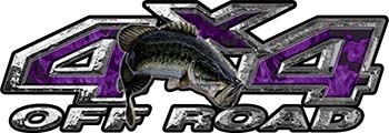 Largemouth Bass Fishing Edition 4x4 Off Road ATV Truck or SUV Decals in Purple Inferno Flames