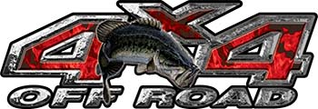 Largemouth Bass Fishing Edition 4x4 Off Road ATV Truck or SUV Decals in Red Inferno Flames