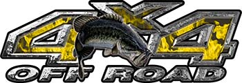 Largemouth Bass Fishing Edition 4x4 Off Road ATV Truck or SUV Decals in Yellow Inferno Flames