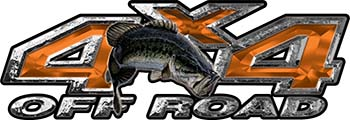 Largemouth Bass Fishing Edition 4x4 Off Road ATV Truck or SUV Decals in Orange