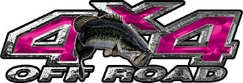 Largemouth Bass Fishing Edition 4x4 Off Road ATV Truck or SUV Decals in Pink