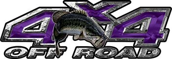 Largemouth Bass Fishing Edition 4x4 Off Road ATV Truck or SUV Decals in Purple