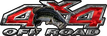 Largemouth Bass Fishing Edition 4x4 Off Road ATV Truck or SUV Decals in Red