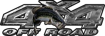 Largemouth Bass Fishing Edition 4x4 Off Road ATV Truck or SUV Decals in Silver