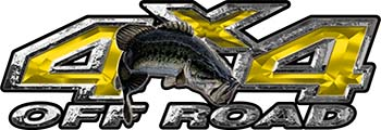 Largemouth Bass Fishing Edition 4x4 Off Road ATV Truck or SUV Decals in Yellow