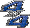 4x4 ATV Truck or SUV Bedside or Fender Decals in Blue Diamond Plate